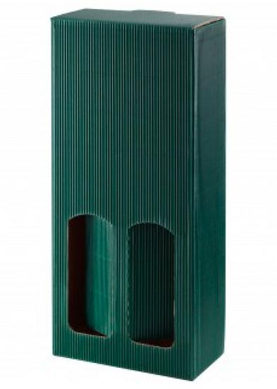 Geschenk Karton für 2 Flaschen (grün)