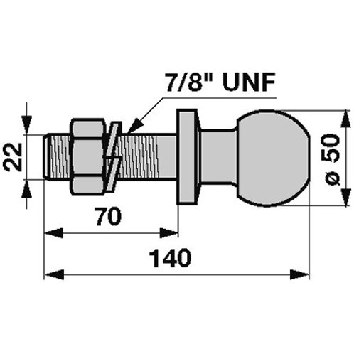 Kupplungskugel Dm 50 mm 7/8 UNF Länge 140 mm