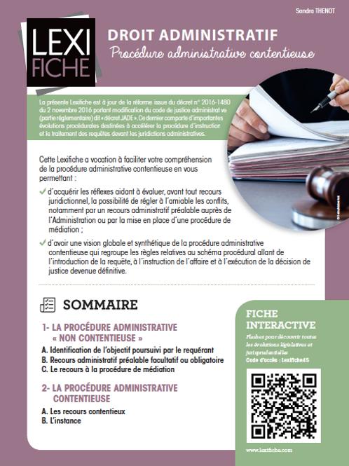 Lexifiche Droit administratif - Procédure administrative contentieuse
