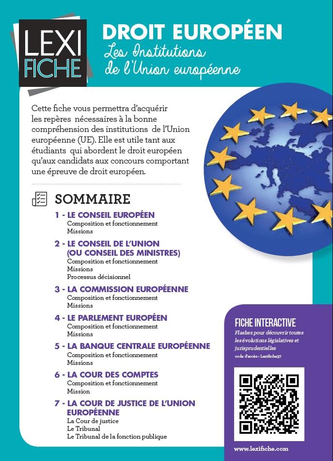 Lexifiche Droit europeen Institutions 2016