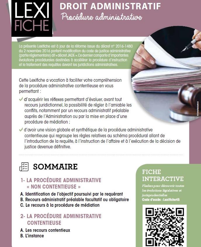 Couverture Lexifiche Procédure administrative