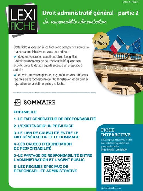 Lexifiche  - Droit administratif général part 2 : responsabilité administrative