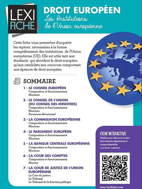 Lexifiche Droit européen - Les institutions de l'Union européenne