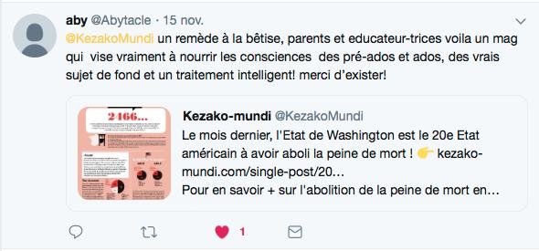 Tweet Aby sur Kezako mundi
