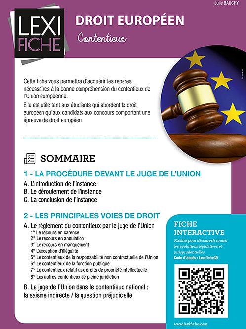 Lexifiche Droit européen - Le contentieux de l'Union européenne