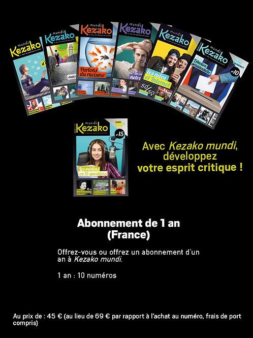 Abonnement 1 an à Kezako mundi (FRANCE métropolitaine)