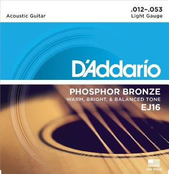 Corde D'addario phosphore bronze EJ16  12/53 Boîte de 10