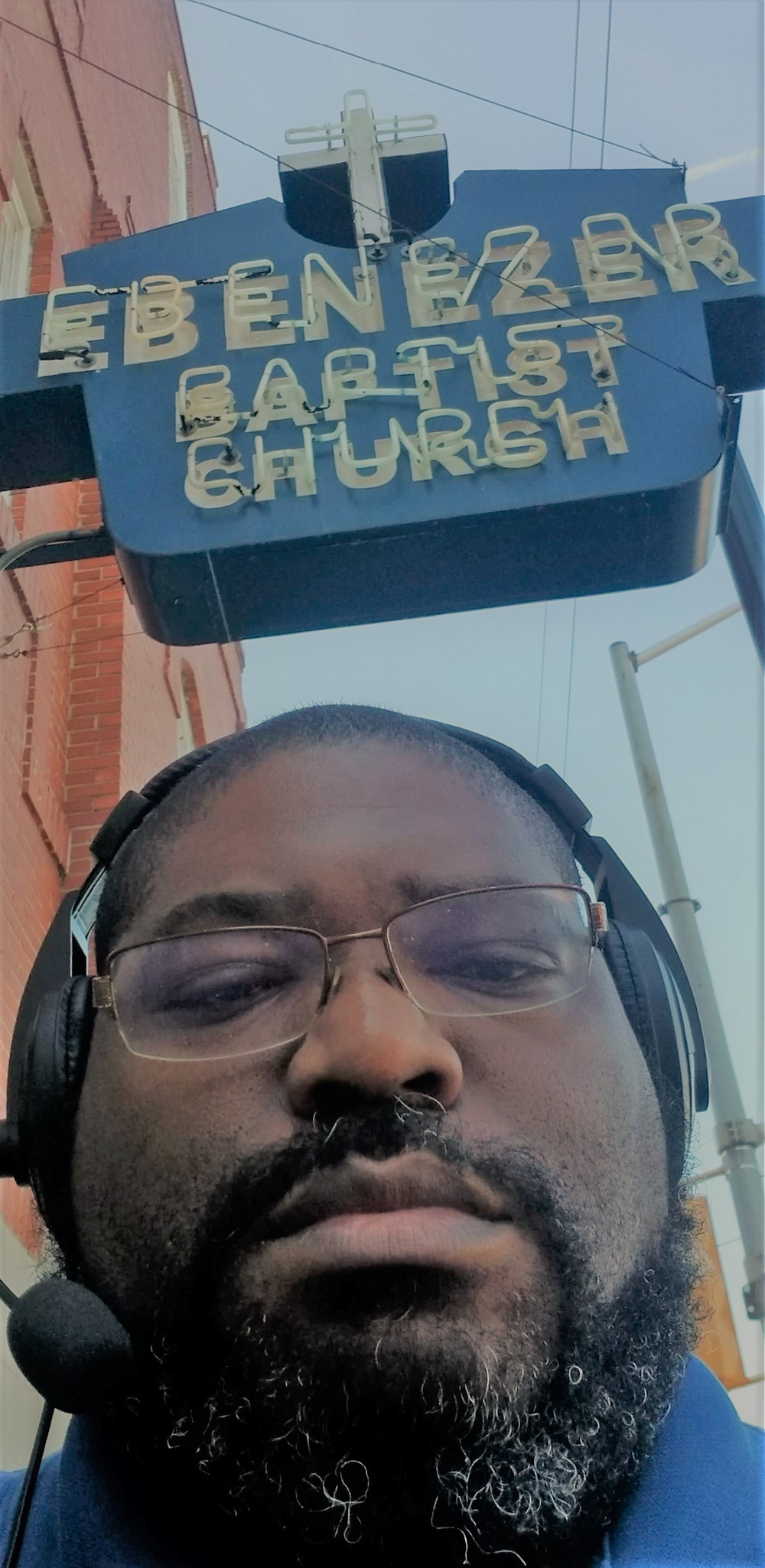 Terry Watson at the Ebenezer Baptist Church sign