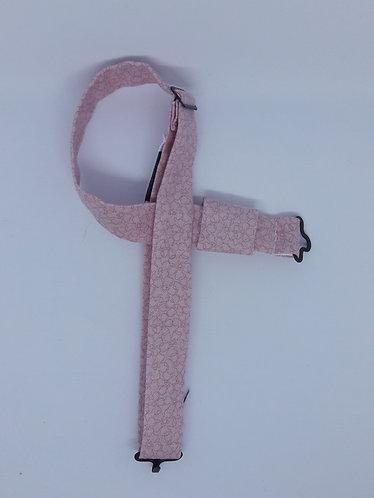Tour de cou en coton pour nœud papillon en bois ou en plexiglass - Rose poudré