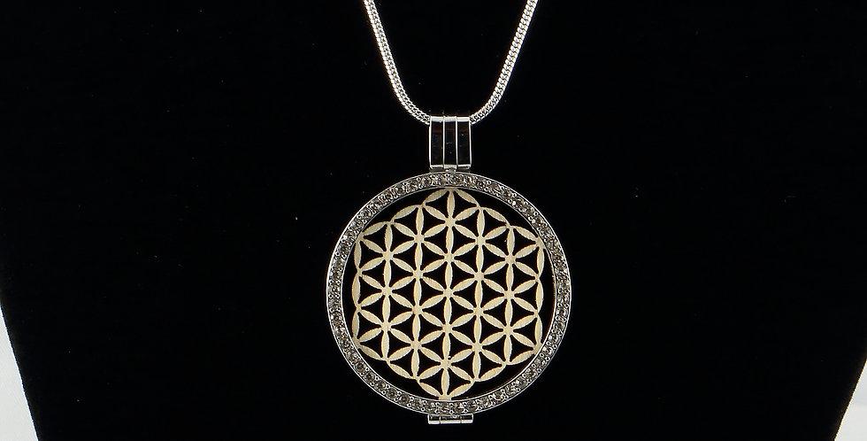 Fassung Coin mit Holzeinlage flor de la vida