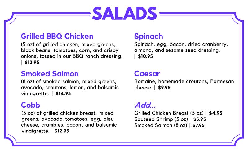 Salad Menu