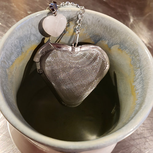 Heart Tea Infuser with Carved Heart Rose Quartz