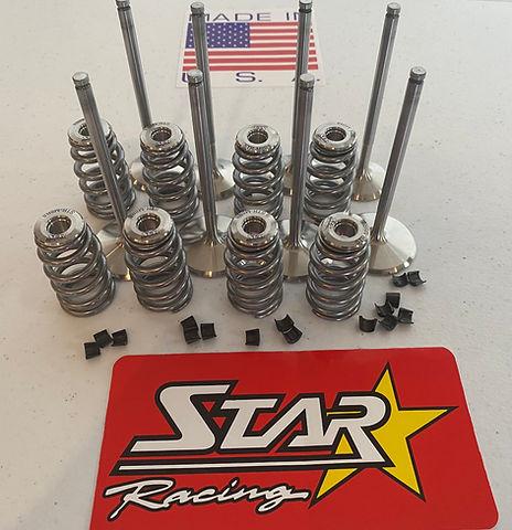 Star Racing Plus 2.5mm Intake & Exhaust Valves PSI Springs with Star Titanium Retainers 8 Degree Top Locks