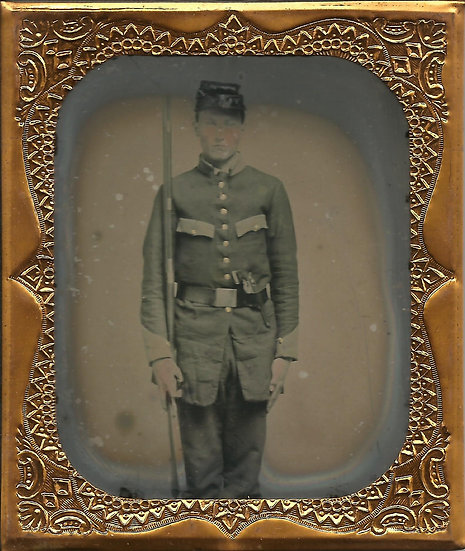 Double Armed Confederate 1/6th Plate Ambrotype