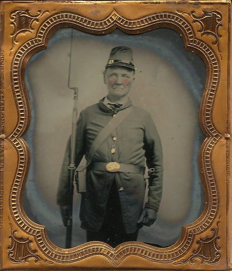 Aged Federal Soldier 1/6th Plate Ambrotype