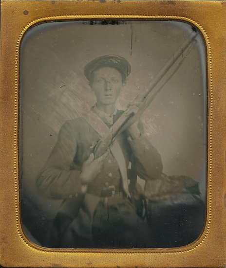 Armed Tennessee Confederate 1/6th Plate Ambrotype