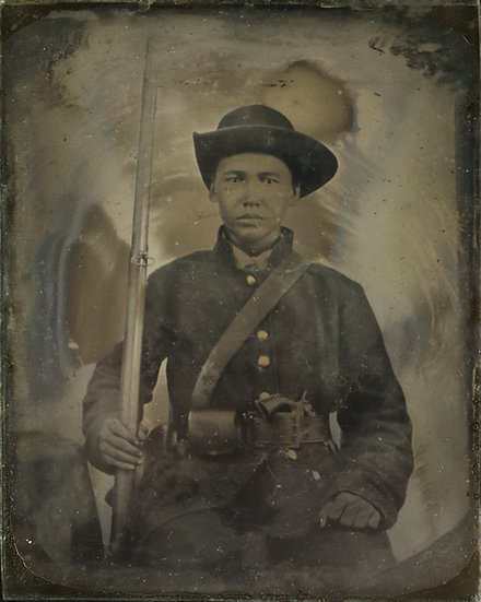 Wonderful Double Armed Confederate 1/9th Plate Ambrotype