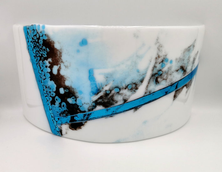White/Turquoise Abstract Curve