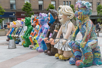 GG - Oor Wullie Bucket Trail, Dundee. My boy is pictured furthest to the right - these Oor Wullies went on tour across Scotland to raise awareness of the trail.