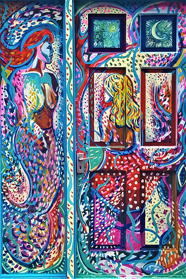 The Mermaid and the Princess (Painted Door)