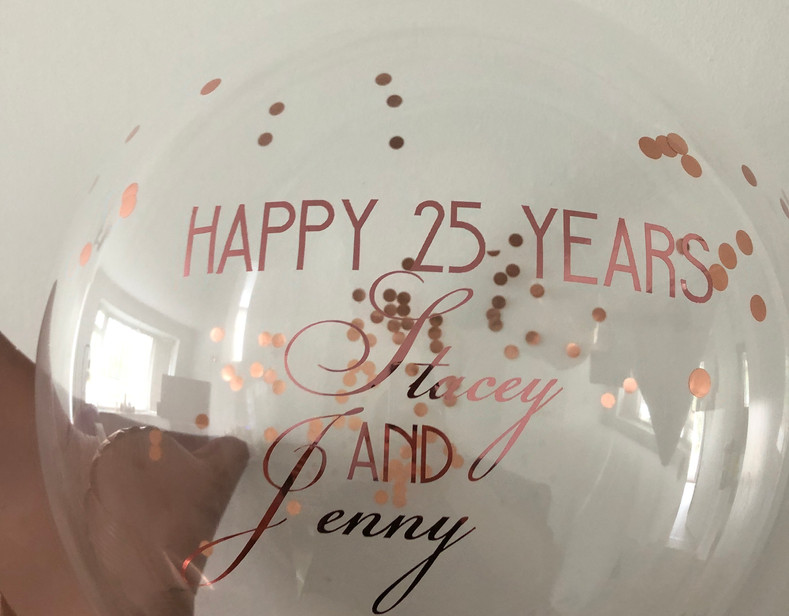 Opulant Rose gold with confetti and personalised message