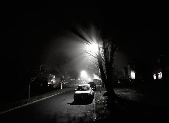 fine art print, misty, film noir, street, black and white