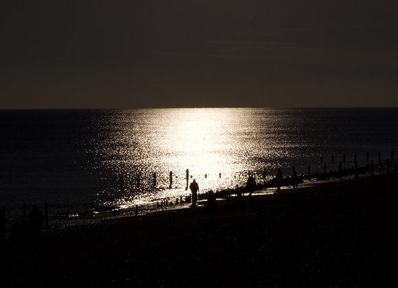 fine art print, sea, beach, walk, winter, sun