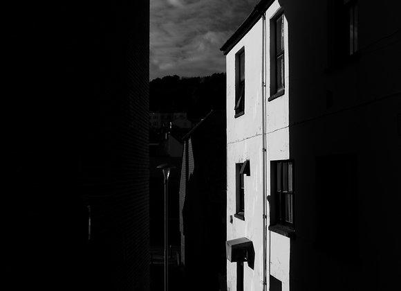 fine art print, street, house, film noir