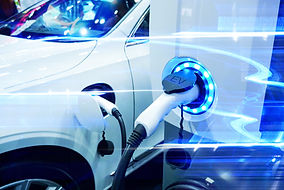 Power supply connect to electric vehicle for charge to the battery. Charging technology in