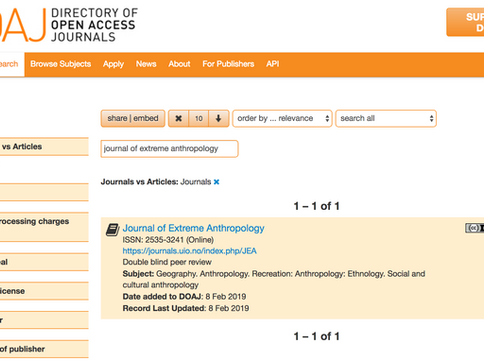 Journal of Extreme Anthropology in DOAJ