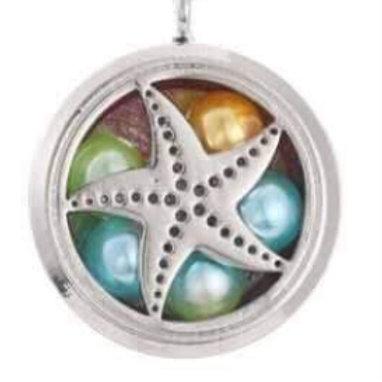 L8 Silver Plated Starfish Circular Locket