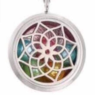 L12 Silver Plated Dream Catcher Inspired Circular Locket