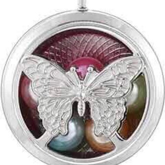 L20 Silver Plated Butterfly Circular Locket