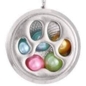 L6 Silver Plated Paw Print Circular Locket
