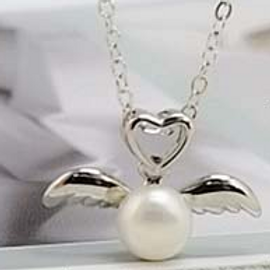 Sterling Silver Angel Wings with Heart