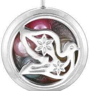 L21 Silver Plated Dove Circular Locket