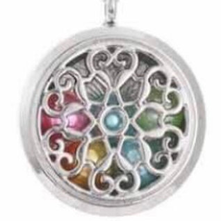 L14 Silver Plated Heart filled Circular Locket