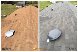 Roof Before and After view ametex roofing waco texas