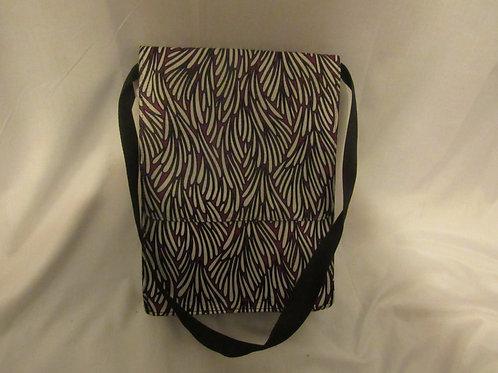 Ankara Cross Body Bag, Purple, Black and White