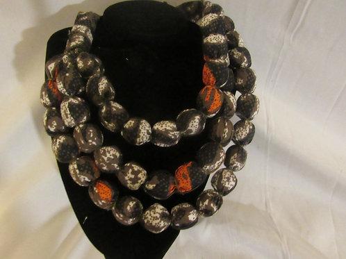 Ankara necklace, multicolor, Brown, orange, and white