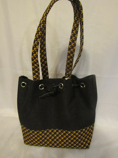 Ankara Bucket Purse, Black body trimmed in red, gold and black