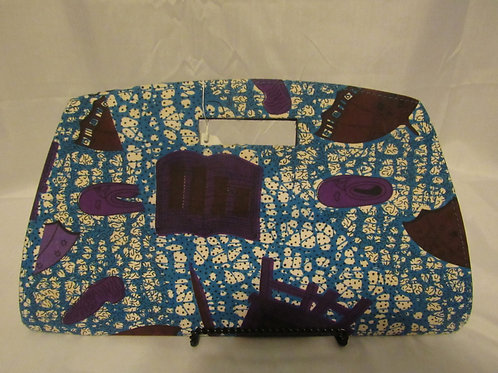 Clutch purse, blue w/ purple