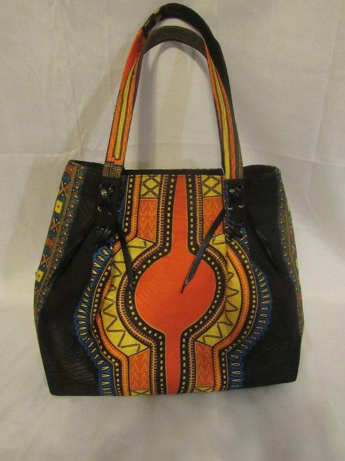 Ankara purse.  African print, orange and black