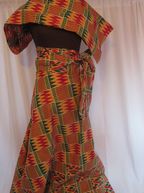 Ankara Wrap Skirt  w/ matching Headwrap, African print, orange, green and red