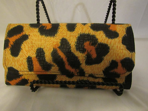 Wallet, Leopard print, Gold, Black and orange