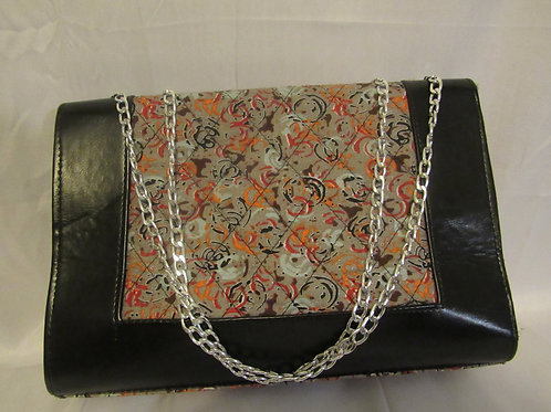Ankara Purse w/chain, 13 x 15, Black w/ grey and orange print