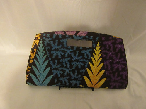 Clutch purse, blue, brown, purple and yellow