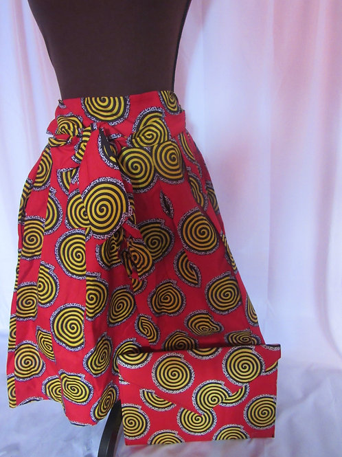Ankara Skirt and square clutch, Red, Black and Yellow