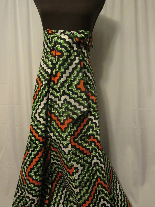 Ankara Wrap Skirt, Green, Orange and White