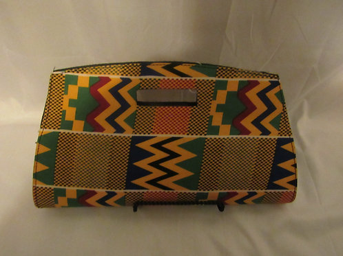 Clutch, yellow, green, blue African print